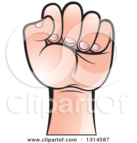 Clipart of a Fisted Caucasian Hand - Royalty Free Vector Illustration by Lal Perera