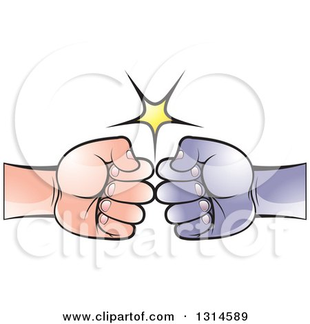 Clipart of a White and Black Fists Bumping - Royalty Free Vector Illustration by Lal Perera