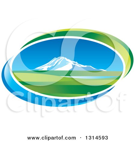 Clipart of a Mountain and Valley Oval Icon with Blue and Green Swooshes - Royalty Free Vector Illustration by Lal Perera