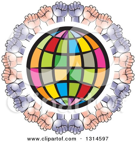 Clipart of a Colorful Grid Globe Encircled with White and Black Hands - Royalty Free Vector Illustration by Lal Perera