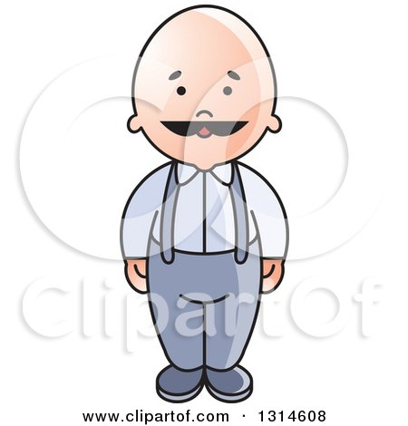 Clipart of a Bald Senior Man with a Mustache - Royalty Free Vector Illustration by Lal Perera