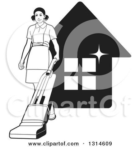 Clipart of a Black and White Maid Vaccuming over a Sparkly House - Royalty Free Vector Illustration by Lal Perera