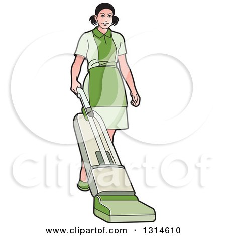 Clipart of a Maid Wearing a Green Uniform and Vaccuming - Royalty Free Vector Illustration by Lal Perera