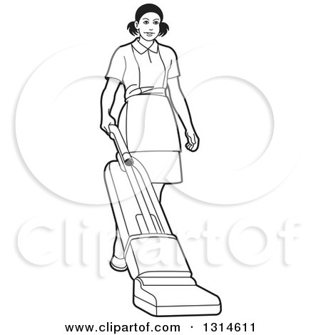 Clipart of a Black and White Maid Vaccuming - Royalty Free Vector Illustration by Lal Perera