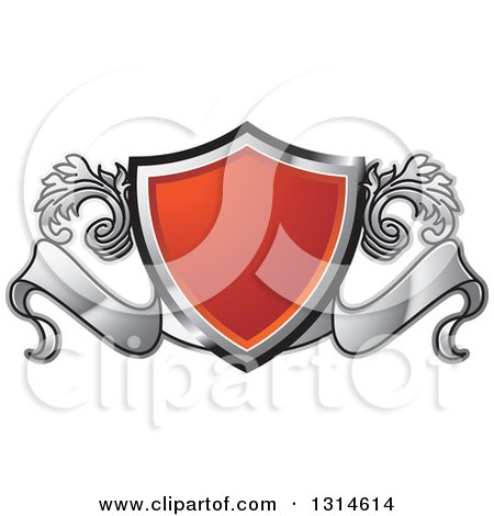 Clipart of a Red Black and Silver Shield and Ribbon Banner with Floral Elements - Royalty Free Vector Illustration by Lal Perera
