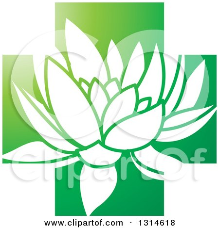 Clipart of a White Water Lily Lotus Flower over a Gradient Green Cross - Royalty Free Vector Illustration by Lal Perera