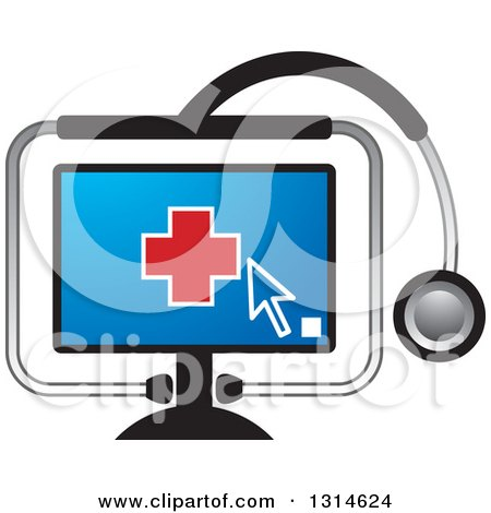 Clipart of a Red Medical Cross on a Computer Screen in a Stethoscope - Royalty Free Vector Illustration by Lal Perera