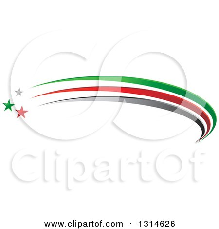 Clipart of a Gray Green and Red Shooting Star and Swoosh Logo - Royalty Free Vector Illustration by Lal Perera
