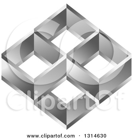 Clipart of a Diamond of Silver Squares - Royalty Free Vector Illustration by Lal Perera