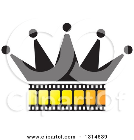 Clipart of a Crown with a Yellow Film Strip - Royalty Free Vector Illustration by Lal Perera