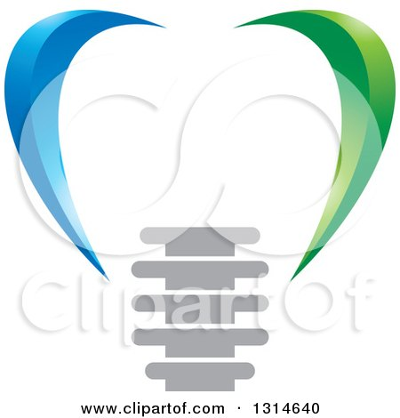 Clipart of a Green and Blue Abstract Dental Implant Design - Royalty Free Vector Illustration by Lal Perera