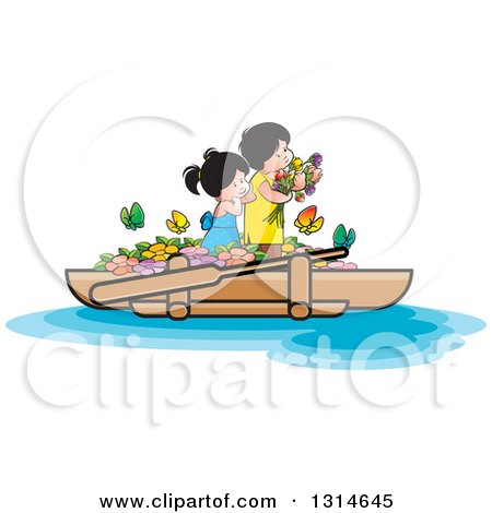 Clipart of Happy Children with Flowers and Butterflies on a Boat - Royalty Free Vector Illustration by Lal Perera