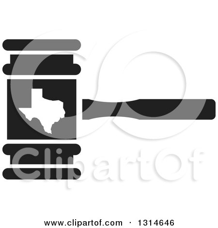 Clipart of a Black and White Judge Gavel with the State of ...
