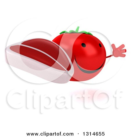 Clipart of a 3d Happy Tomato Character Facing Right, Jumping and Holding a Beef Steak - Royalty Free Illustration by Julos