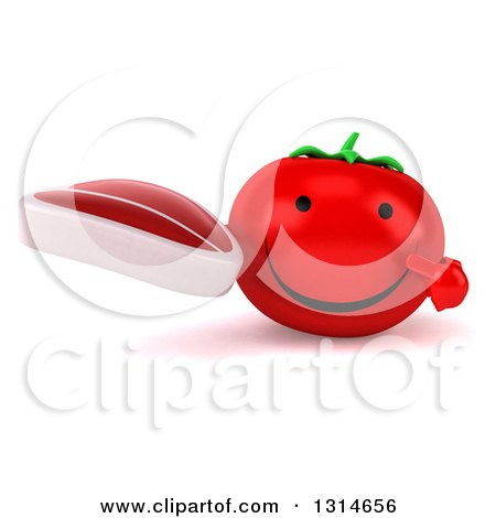 Clipart of a 3d Happy Tomato Character Holding and Pointing to a Beef Steak - Royalty Free Illustration by Julos