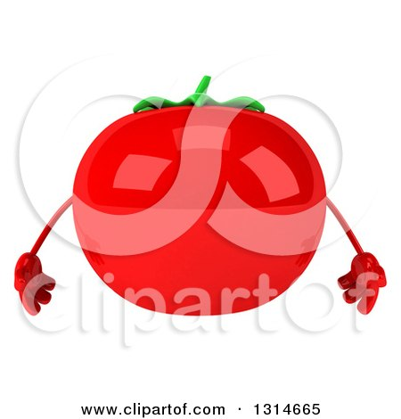 Clipart of a 3d Tomato Character - Royalty Free Illustration by Julos