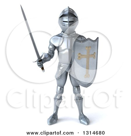 Clipart of a 3d Armored Knight - Royalty Free Illustration by Julos