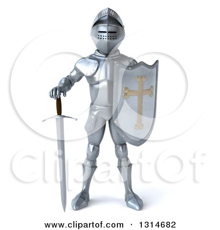 Clipart Of A 3d Armored Knight Holding His Sword Down Royalty Free Illustration
