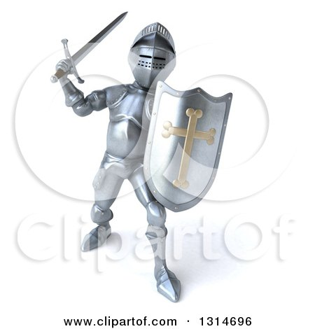 Clipart of a 3d Armored Knight Fighting with a Sword - Royalty Free Illustration by Julos