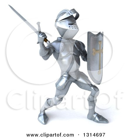 Clipart of a 3d Armored Knight Fighting with a Sword 2 - Royalty Free Illustration by Julos