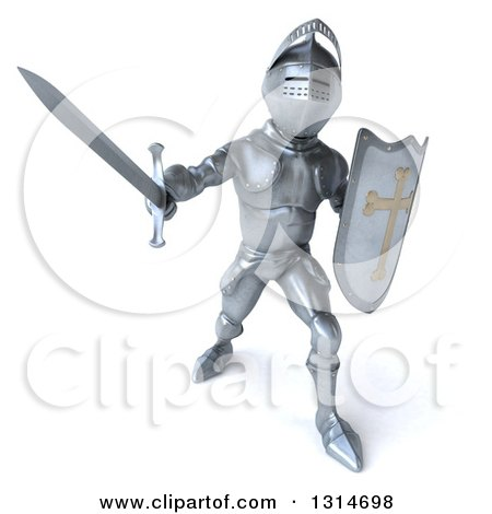Clipart of a 3d Armored Knight Fighting with a Sword 3 - Royalty Free Illustration by Julos
