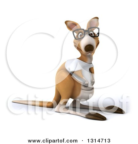 Clipart of a 3d Bespectacled Casual Kangaroo Wearing a White Tee Shirt - Royalty Free Illustration by Julos
