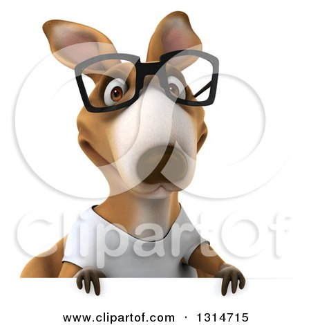 Clipart of a 3d Bespectacled Casual Kangaroo Wearing a White Tee Shirt over a Sign - Royalty Free Illustration by Julos