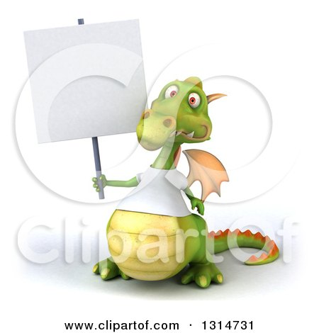 Clipart of a 3d Casual Green Dragon Wearing a White T Shirt, Holding up a Blank Sign - Royalty Free Illustration by Julos