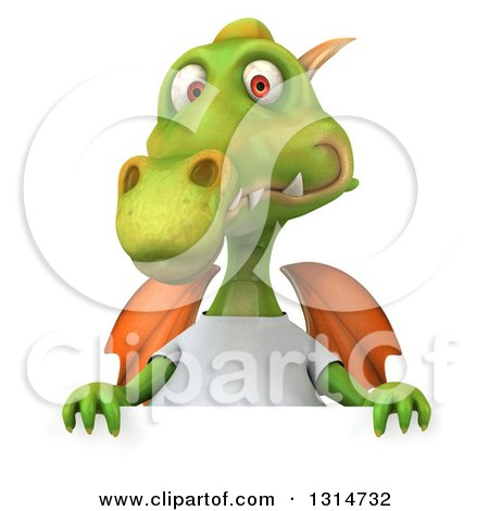 Clipart of a 3d Casual Green Dragon Wearing a White T Shirt over a Sign - Royalty Free Illustration by Julos