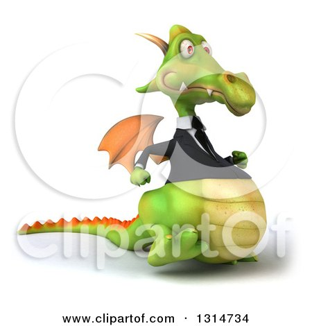Clipart of a 3d Green Business Dragon Walking to the Right - Royalty Free Illustration by Julos