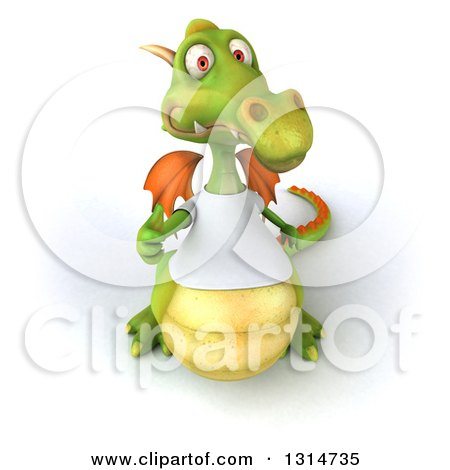 Clipart of a 3d Casual Green Dragon Wearing a White T Shirt, Holding up a Thumb - Royalty Free Illustration by Julos
