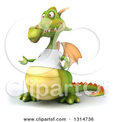 Clipart of a 3d Casual Green Dragon Wearing a White T Shirt, Presenting to the Left - Royalty Free Illustration by Julos