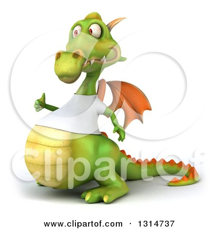 Clipart of a 3d Casual Green Dragon Wearing a White T Shirt, Facing Left and Giving a Thumb up - Royalty Free Illustration by Julos