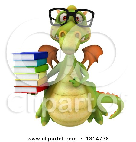 Clipart of a 3d Bespectacled Green Dragon Holding a Stack of Books - Royalty Free Illustration by Julos