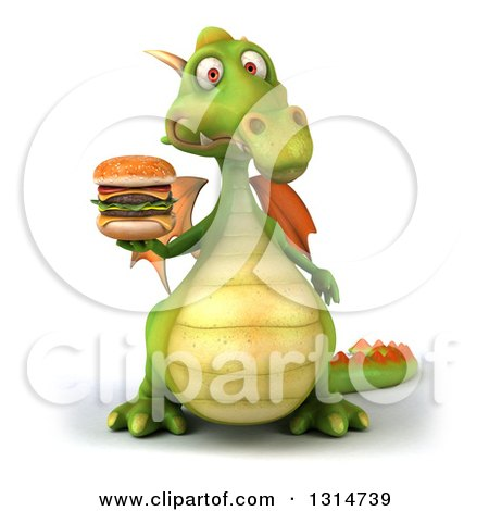 Clipart of a 3d Green Dragon Facing Holding a Double Cheeseburger - Royalty Free Illustration by Julos