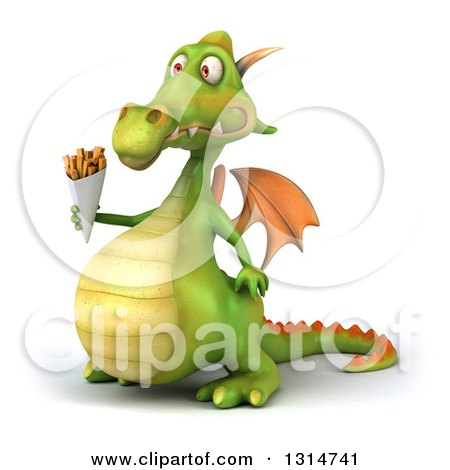 Clipart of a 3d Green Dragon Facing Left and Holding French Fries - Royalty Free Illustration by Julos