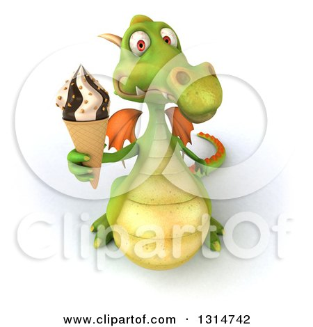 Clipart of a 3d Green Dragon Holding up a Waffle Ice Cream Cone - Royalty Free Illustration by Julos