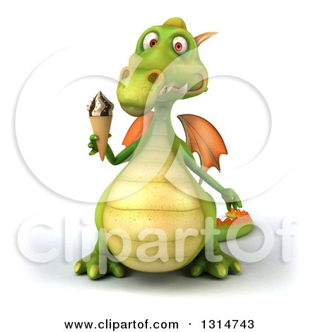 Clipart of a 3d Green Dragon Holding a Waffle Ice Cream Cone - Royalty Free Illustration by Julos