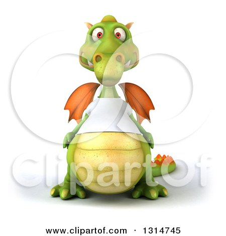 Clipart of a 3d Casual Green Dragon Wearing a White T Shirt - Royalty Free Illustration by Julos