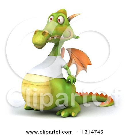 Clipart of a 3d Casual Green Dragon Wearing a White T Shirt, Facing Left - Royalty Free Illustration by Julos