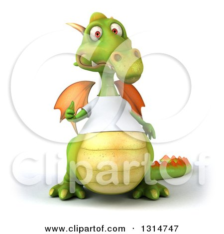 Clipart of a 3d Casual Green Dragon Wearing a White T Shirt, Giving a Thumb up - Royalty Free Illustration by Julos