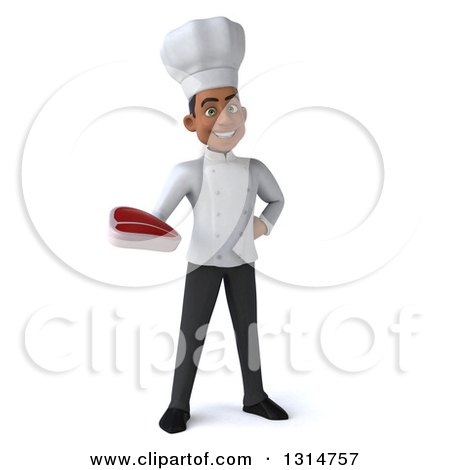 Clipart of a 3d Young Black Male Chef Holding a Beef Steak - Royalty Free Illustration by Julos