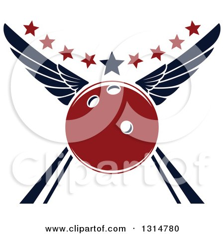 Clipart of a Red Winged Bowling Ball in an Alley, with Stars - Royalty Free Vector Illustration by Vector Tradition SM