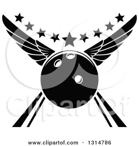 Clipart of a Black and White Winged Bowling Ball in an Alley, with Stars - Royalty Free Vector Illustration by Vector Tradition SM