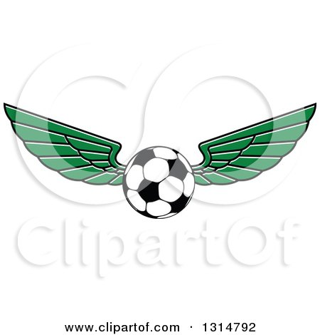 Clipart of a Green Winged Soccer Ball - Royalty Free Vector Illustration by Vector Tradition SM