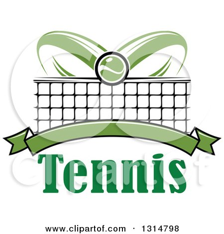 Clipart of a Tennis Ball over Abstract Rackets, a Net, Blank Green Banner and Text - Royalty Free Vector Illustration by Vector Tradition SM