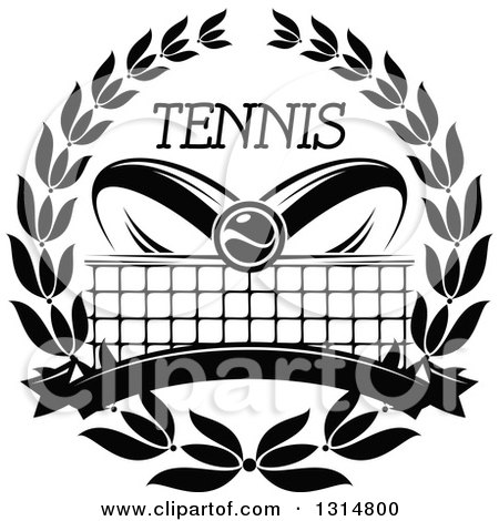 Clipart of a Black and White Tennis Ball over Abstract Rackets, a Net, Blank Banner and Text in a Wreath - Royalty Free Vector Illustration by Vector Tradition SM