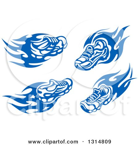 Clipart of Blue Tribal Flaming Sports Shoes - Royalty Free Vector Illustration by Vector Tradition SM