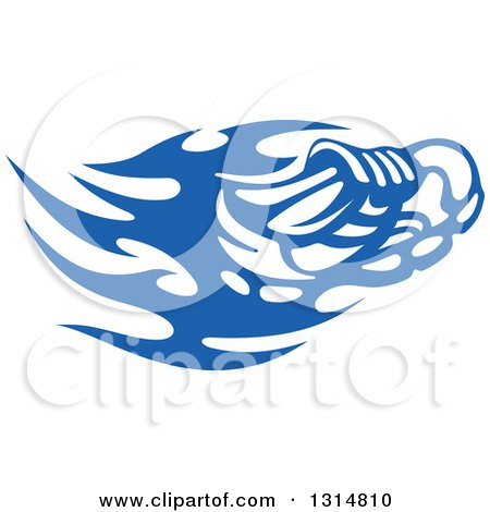 Clipart of a Blue Tribal Flaming Sports Shoe - Royalty Free Vector Illustration by Vector Tradition SM