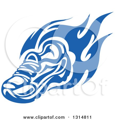 Clipart of a Blue Tribal Flaming Sports Shoe 2 - Royalty Free Vector Illustration by Vector Tradition SM